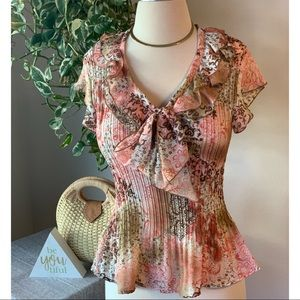 Sunny Leigh Tops - Pink & Brown Top w/Front Bow